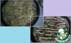 And finish with mayonnaise and cheese. Put in oven heated to 180*, for 20-25 minutes.