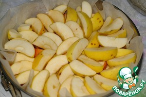 Apples cut into 4-8 pieces, remove the core, do not peel, put into the form, in two rows.