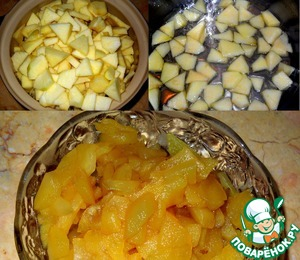 Apples clean, cut into cubes.  Sugar with water bring to the boil and add the apples in small portions. Simmer until soft apples.