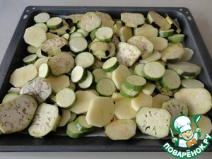 Put the chopped potatoes, eggplant and zucchini on a baking sheet. Salt, add 3 tbsp olive oil and mix with your hands. Put the pan in the oven ( 200 degrees ) for half an hour, until the vegetables are soft.