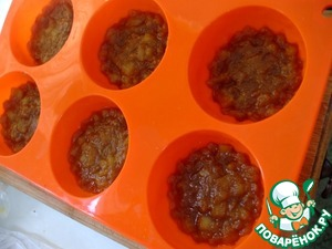 Spread out caramel apples in silicone molds for muffins.  Put into the refrigerator while we prepare the caramel mousse.