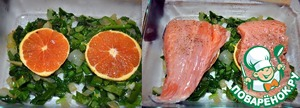 In a baking dish put a layer of onions, spinach, orange wedges and fish, sprinkle with ginger - and-citrus mixture
