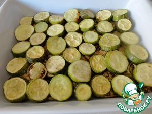 In the form of the (approximately 25x30) spread layers of potatoes, eggplant and zucchini.