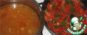 Put onions in a pan (or fry in it), add the tomato, chickpeas, pour broth or water.  On a medium heat - fry the peppers until tender with chopped tomatoes.