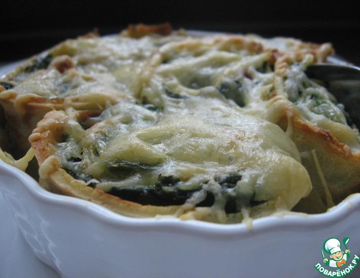 Рецепт: Запеченные блинчики со шпинатом