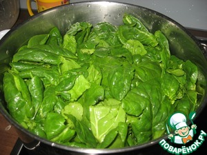 Making the filling. Spinach wash well if necessary, clean. Blanchere about 2 minutes. Drain off water, drain well of liquid.