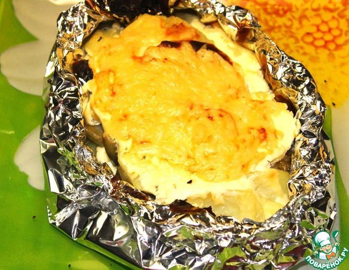 Рецепт: Осетр, запеченный с картофелем Спасибо другу