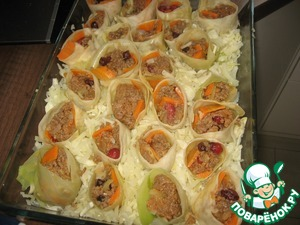 Then put rolls on top, like flowers in the ground))).