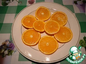My oranges, one cut into thin slices.