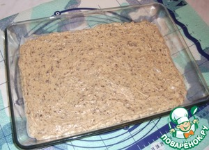 Put on a baking tray lined with parchment paper, greased. Bake at 180-200*C for 25 min.  Cake cool and cut into squares or rectangles.