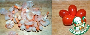My peeled ready shrimp, cherry tomatoes and chop all