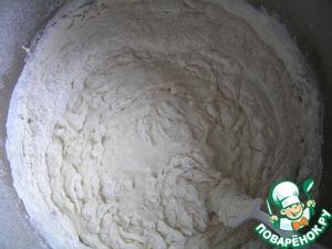 0.5 tsp. of sugar or honey, 120 g of flour, mix,