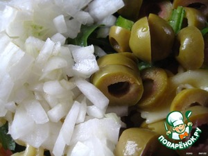 chopped onion, olives cut in 2-3 pieces