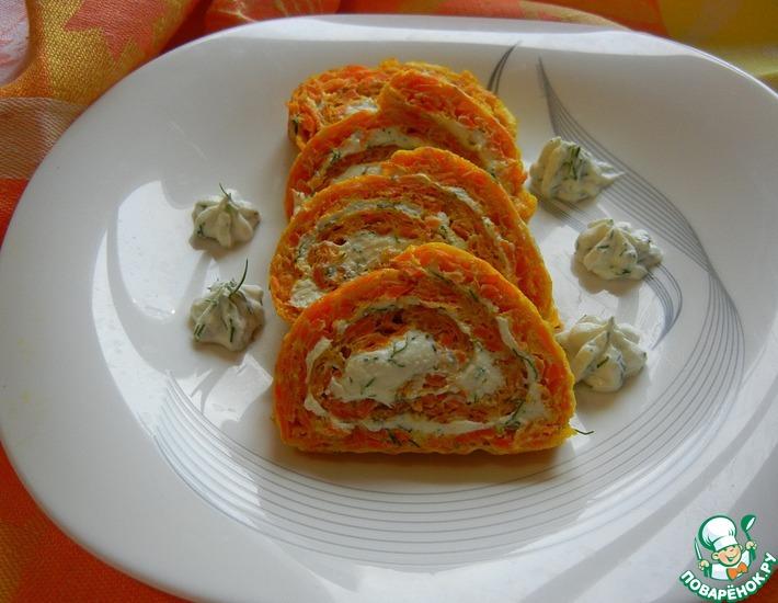 Рецепт: Морковный рулет Рыжее чудо