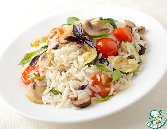 Рецепт: Горячий салат из риса с овощами