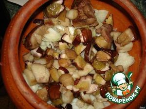 Then the mushrooms, carrots, potatoes.