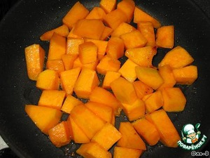 Pumpkin cut into small cubes, also lightly fry.