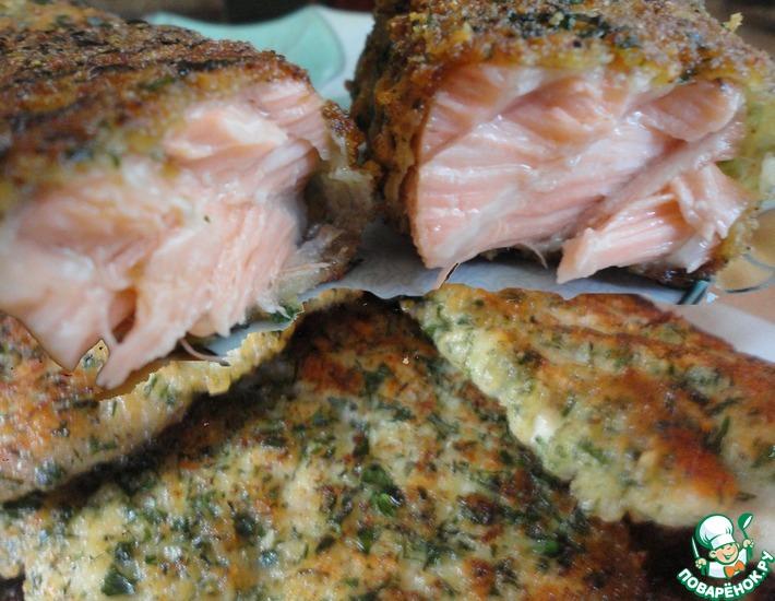 Рецепт: Сырная панировка с зеленью и блюда с ней