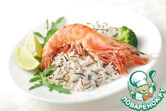 Рецепт: Рис с тигровыми креветками