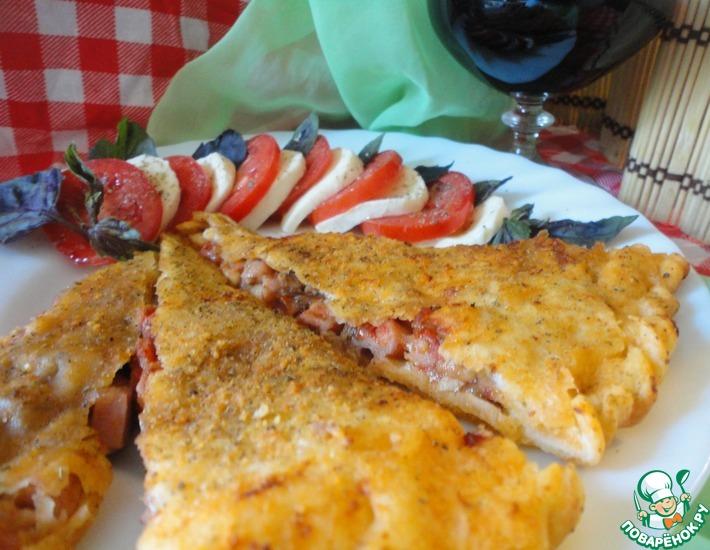 Рецепт: Кальцоне Три сыра с ветчиной