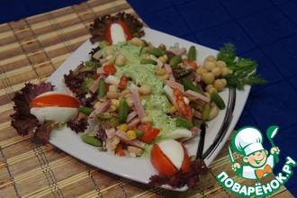 Рецепт: Салат с зеленой салатной заправкой