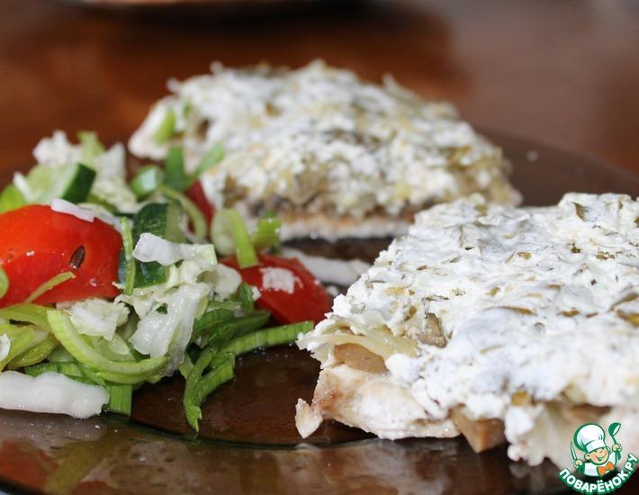 Рецепт: Куриные отбивные с грибами из пароварки