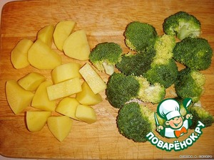 Peel the potato and cut it in large cubes.  Broccoli cut off the leg and dismantle the forks of the inflorescence.