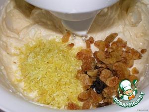 Then add the zest grated and raisins.Stir.