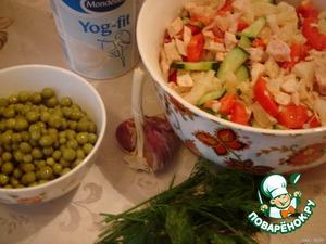 Chopped cucumbers, tomatoes, greens.  Grind the garlic.