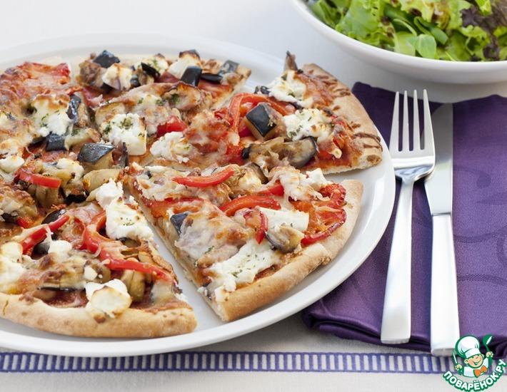 Рецепт: Пицца с баклажанами и сладким перцем
