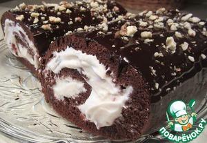 Рецепт Шоколадный рулет со взбитыми сливками и вишневым конфитюром