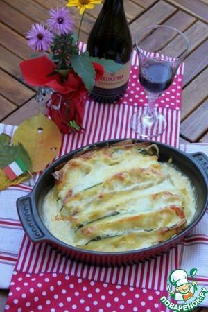 Рецепт: Шницель-лазанья с томатами и цуккини
