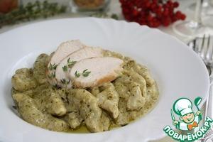 Обжареное филе нарезаем на кусочки, выкладываем непосредственно на пасту.   Приятного аппетита!