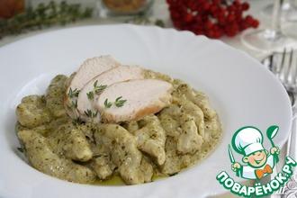 Рецепт: Кавателли с курицей в сливочном соусе песто