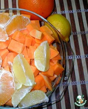 Pumpkin, orange and lemon peel, orange and lemon beans. To do it through a meat grinder.