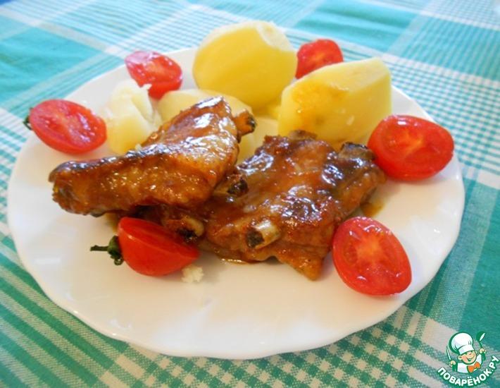 Рецепт: Свиные ребрышки в медовом соусе