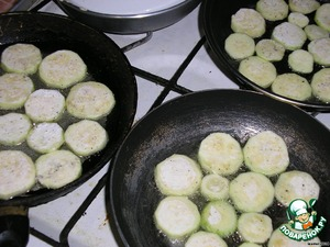 Fry quickly until Golden brown, but not until fully cooked all our zucchini.
