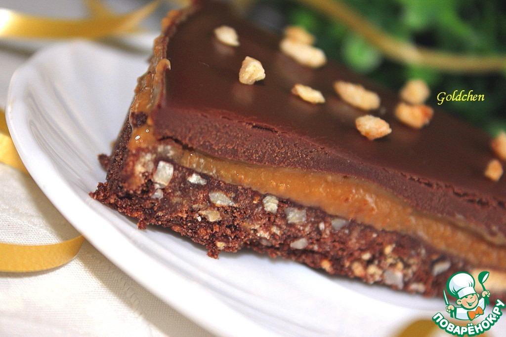 Пирожное без выпечки с тоффи и шоколадом