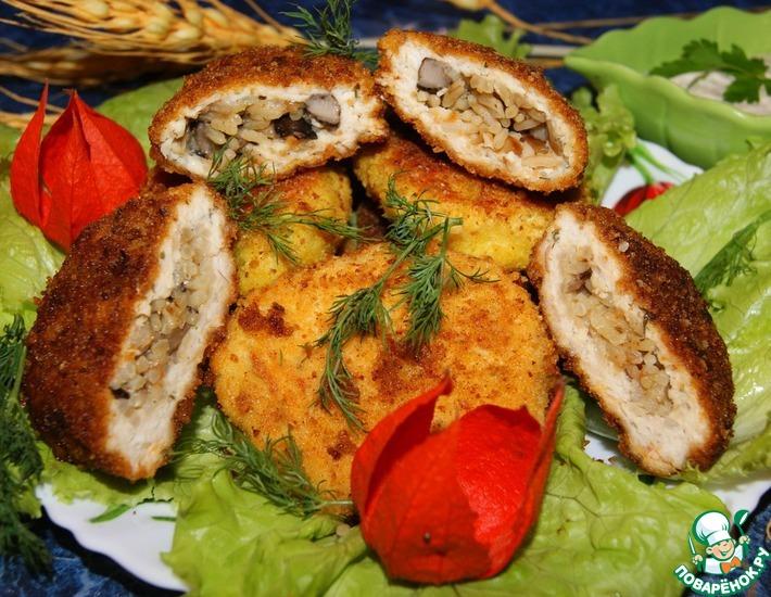 Рецепт: Куриные зразы с рисом и грибами