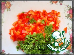 I give the number of products for 1 serving. So, finely chop the pepper and herbs