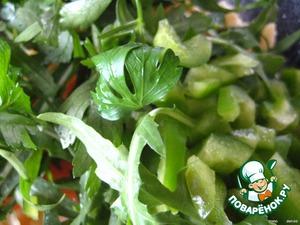 руколлу, зелень, измельченный салатный перец,
