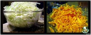 Подготавливаем овощи к последующей обработке: моем, режем капусту, лук, морковь лучше натереть на крупной терке.