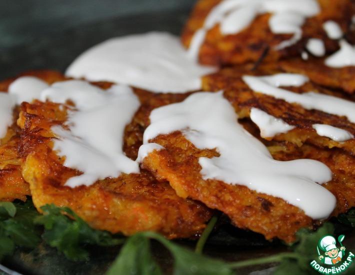 Рецепт: Драники сырно-тыквенно-картофельные
