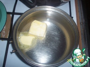Boil water and melt the margarine, add salt and sugar.