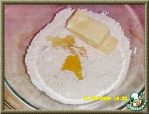 Make a hole in the cone and add: softened butter, egg and yolk,