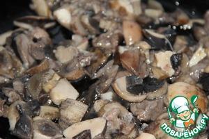Mushrooms sauté in a separate pan in vegetable oil