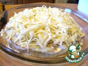 3rd layer - potato pancake,top with 1/2 of cheese.
