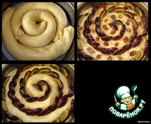 """Turn on the oven at 175-180 ° C.  The bottom round shape vystelim baking paper or grease with butter and sprinkle with flour. I have a form with a diameter of 28 cm.  Ready rolls stacked """"snail"""" in form.  Halves the drain is inserted between the layers """"snails"""", and on the edge of the pie """"press"""" into the dough.  On top of greased pie with milk, sprinkle with mixture of cinnamon, sugar and vanilla. And I even decorated with CanDis.  Bake 40-45 minutes at 180*C (until Golden brown and """"dry splinter"""")."""