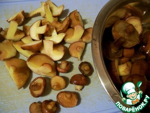 I have frozen mushrooms of small size, so when cooking just cut them in half vertically, and very little at all left tselenkim - I like to feel the pieces of mushrooms in the finished dish.