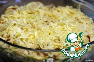 Sprinkle with grated cheese.  Bake in the oven on the middle shelf under a medium heat for about 20 minutes.